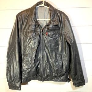 Levi's Black Faux Leather Gray Hooded Jacket.